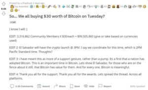 Read more about the article Thousands Of People Plan To Buy $30 Of Bitcoin To Celebrate El Salvador